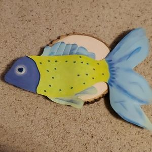 Foreside Blue and Green Metal Fish Hanging